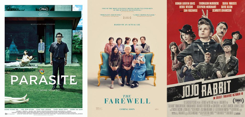 posters de parasite, the farewell y jojo rabbit
